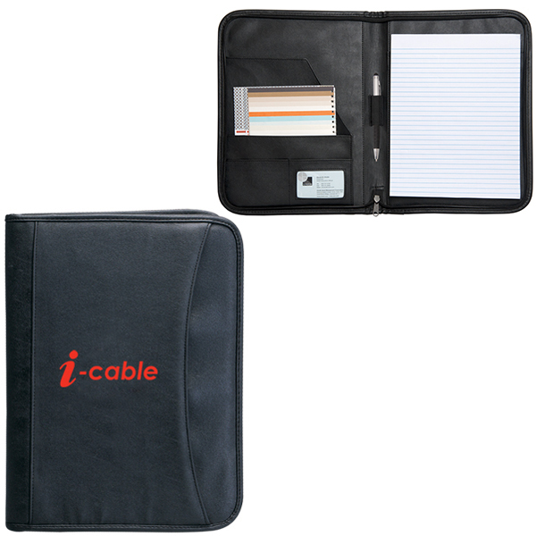 Zippered Notepad Portfolio, PL689, 1 Colour Imprint