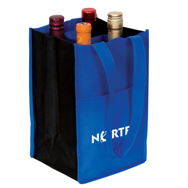 Non Woven Four Bottle Wine Bag, NW4908, 1 Colour Imprint