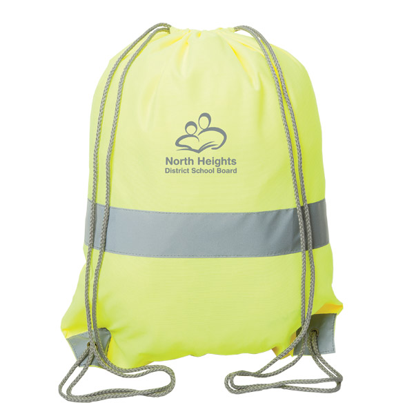 High-Viz Safety Drawstring Backpack, P8604, 1 Colour Imprint