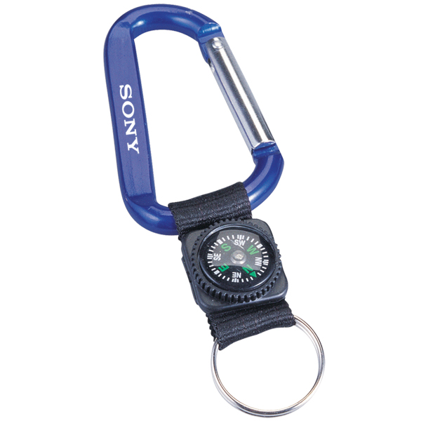 Carabiner With Decorative Compass (8mm), M8108, 1 Colour Imprint
