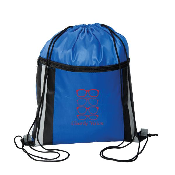 Cinch Dazzler Reflective Drawstring Bag, P6494, 1 Colour Imprint
