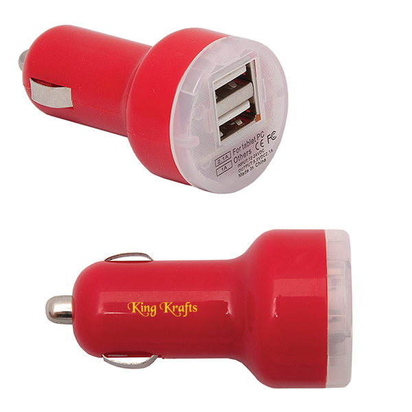 Dual USB Car Charger, CU7440, 1 Colour Imprint