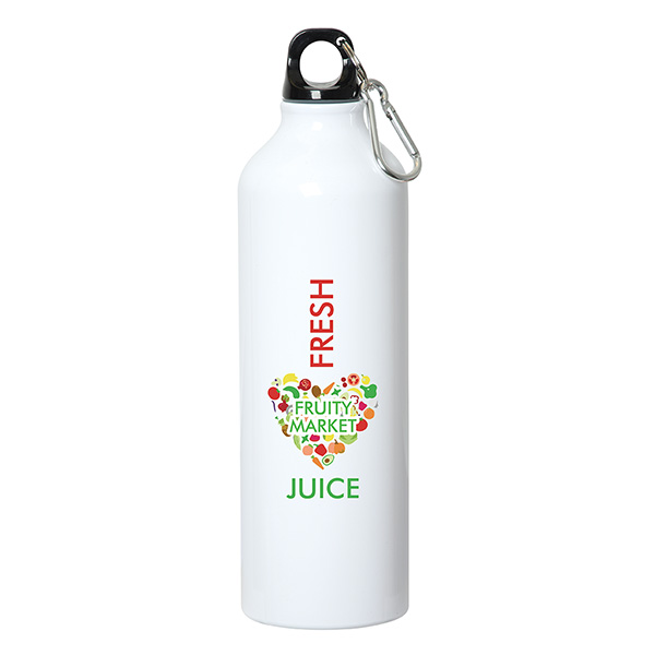 750 Ml (25 Fl. Oz.) Aluminum Water Bottle With Carabiner, WB8007, 1 Colour Imprint