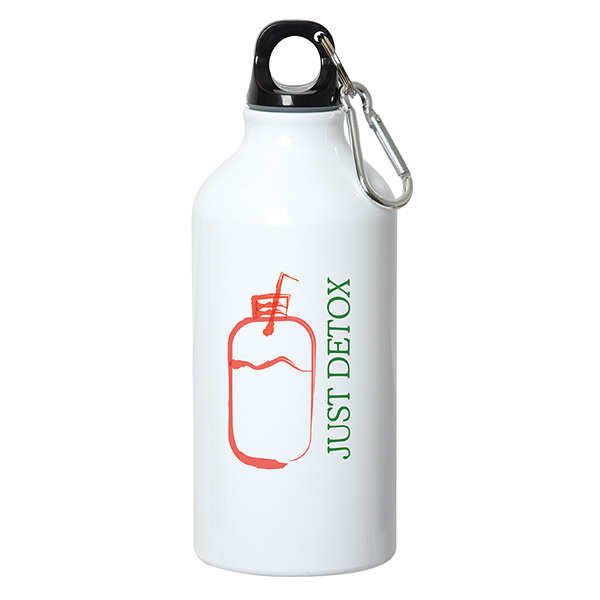 500 ml (17oz.) ALUMINUM WATER BOTTLE WITH CARABINER, WB7107, 1 Colour Imprint