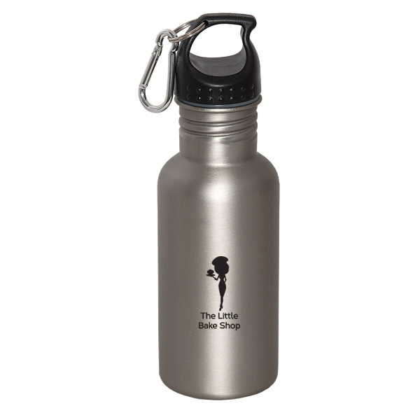 WIDE MOUTH 500 ml (17 oz.) STAINLESS STEEL WATER BOTTLE, WB7075, 1 Colour Imprint