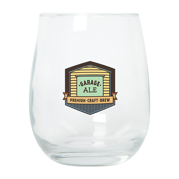 Rowbeck 450 Ml. (15 Oz.) Stemless Wine Glass, GL9333, 1 Colour Imprint