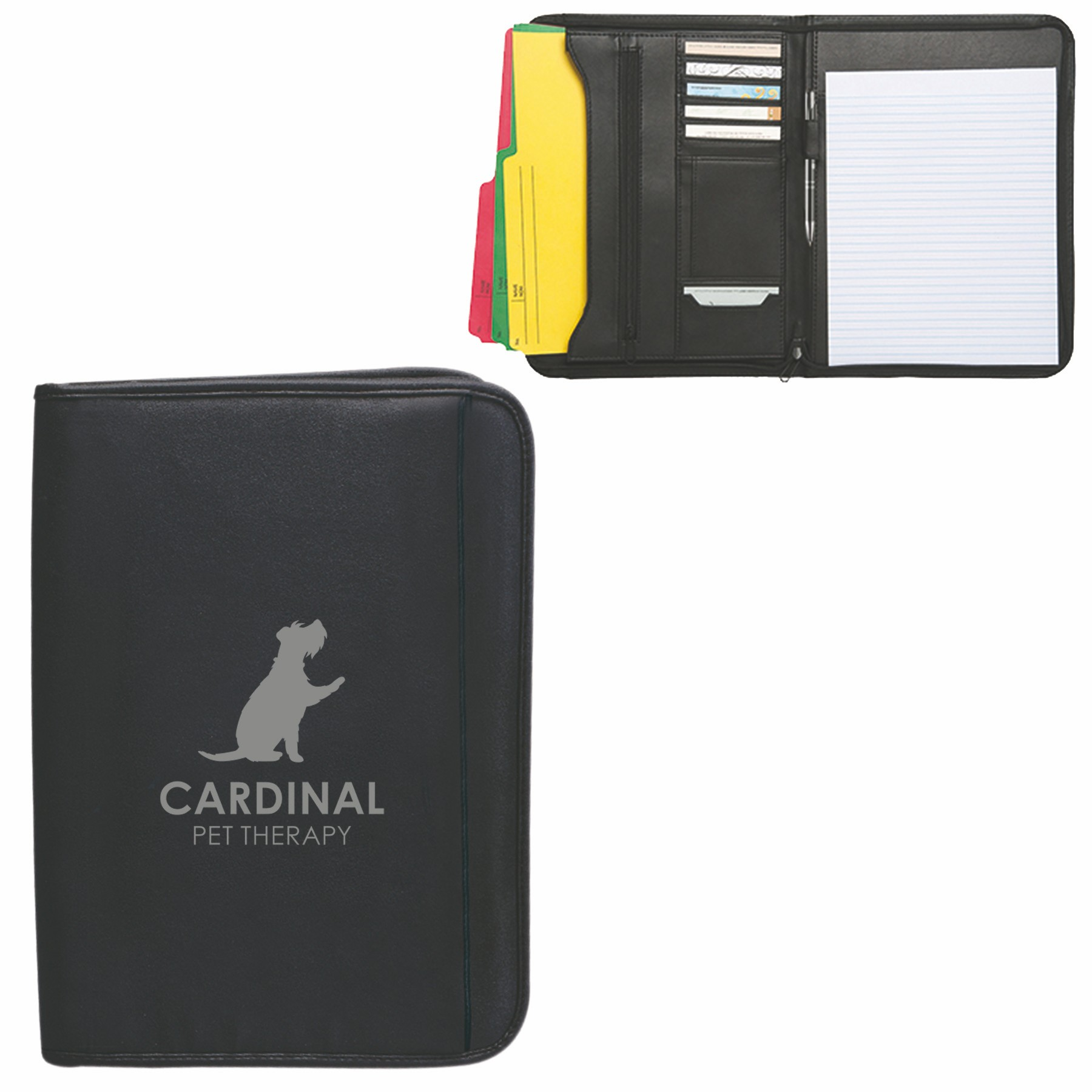 Zippered Notepad Portfolio, SL615, 1 Colour Imprint