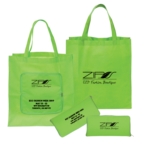 Non Woven Magic Folding Shopping Tote, NW4761, 1 Colour Imprint