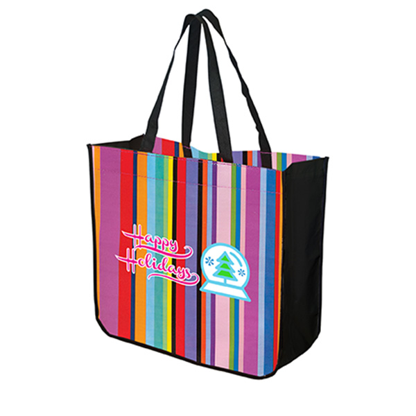 Large Multi-Stripe Recycled Tote, TO4815, 1 Colour Imprint