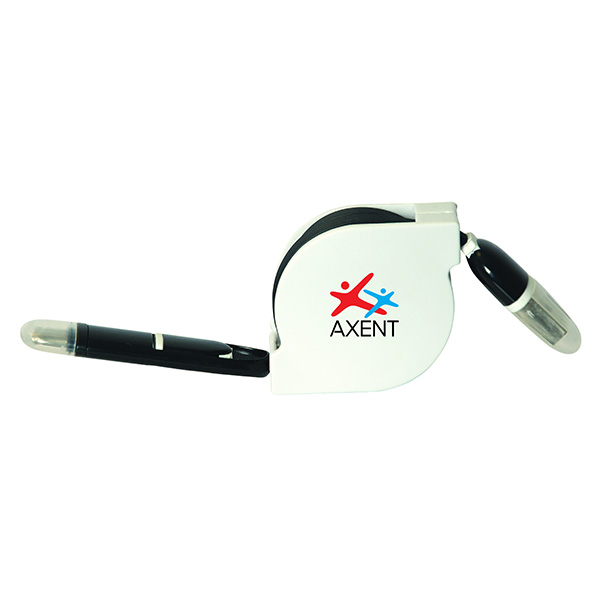 Power Line 3-In-1 Retractable Charging Cable, CU9292, 1 Colour Imprint