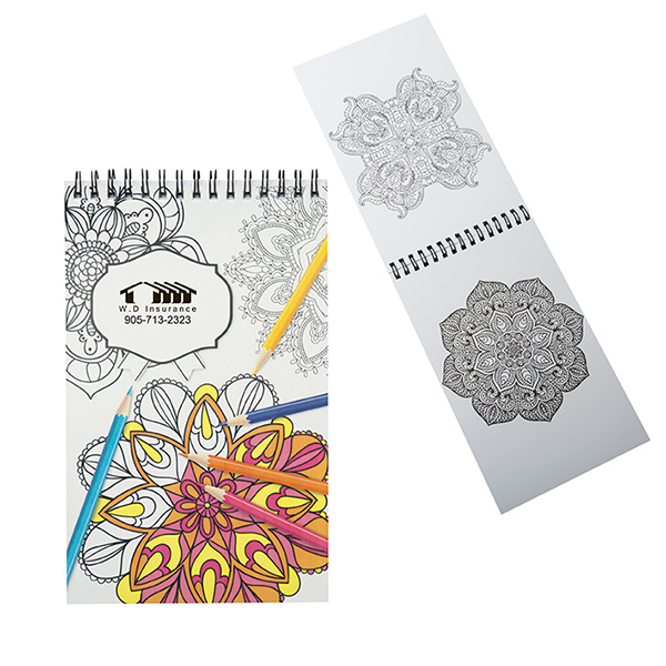 Mini Colouring Book With Spiral Binding, CA9266, 1 Colour Imprint