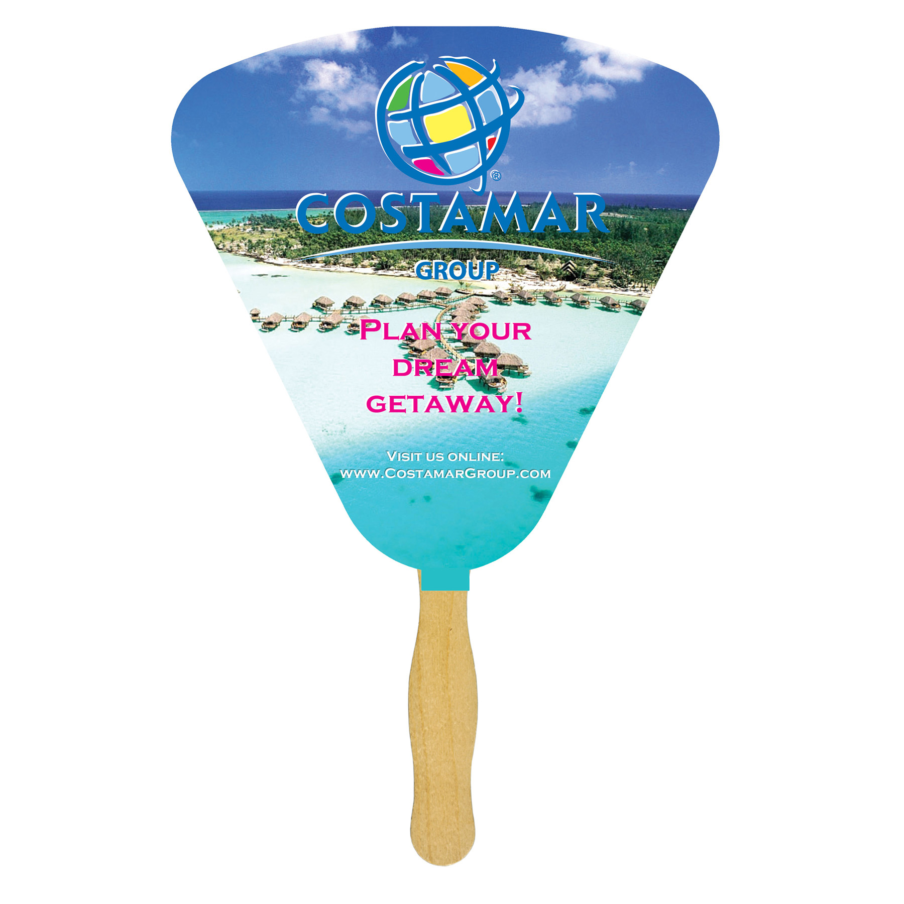 Seashell Sandwiched Hand Fan (2 Side/Four Color Process), FW107-4-K, Full Colour Imprint