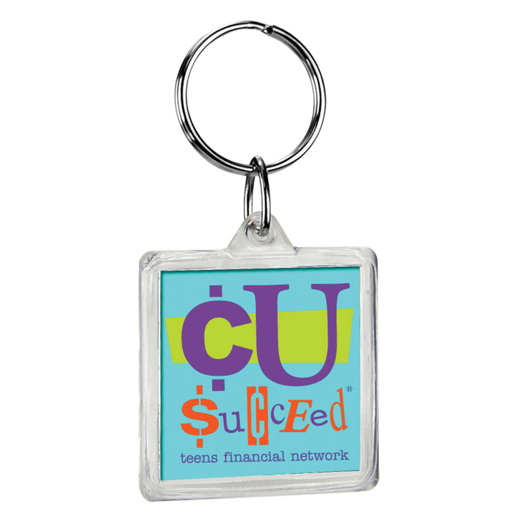 Square Crystal Key Tag, 308-K, Full Colour Imprint
