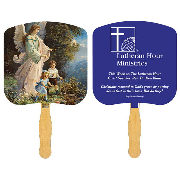 Religious Hand Fan/ Guardian Angel, FR102-1-K, One Colour Imprint