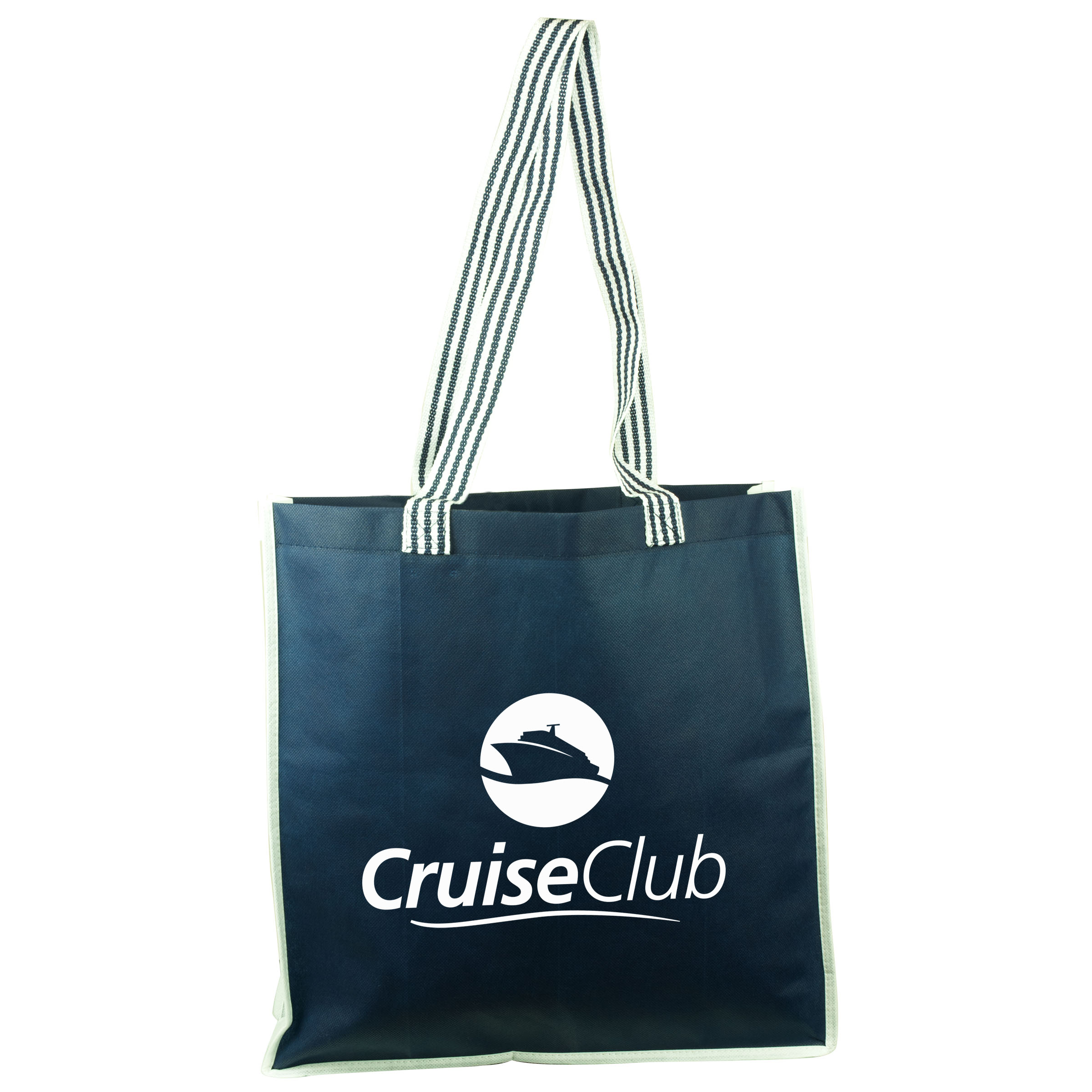 Cruiser Tote with Striped Terylene Handles, TB109-K, One Colour Imprint