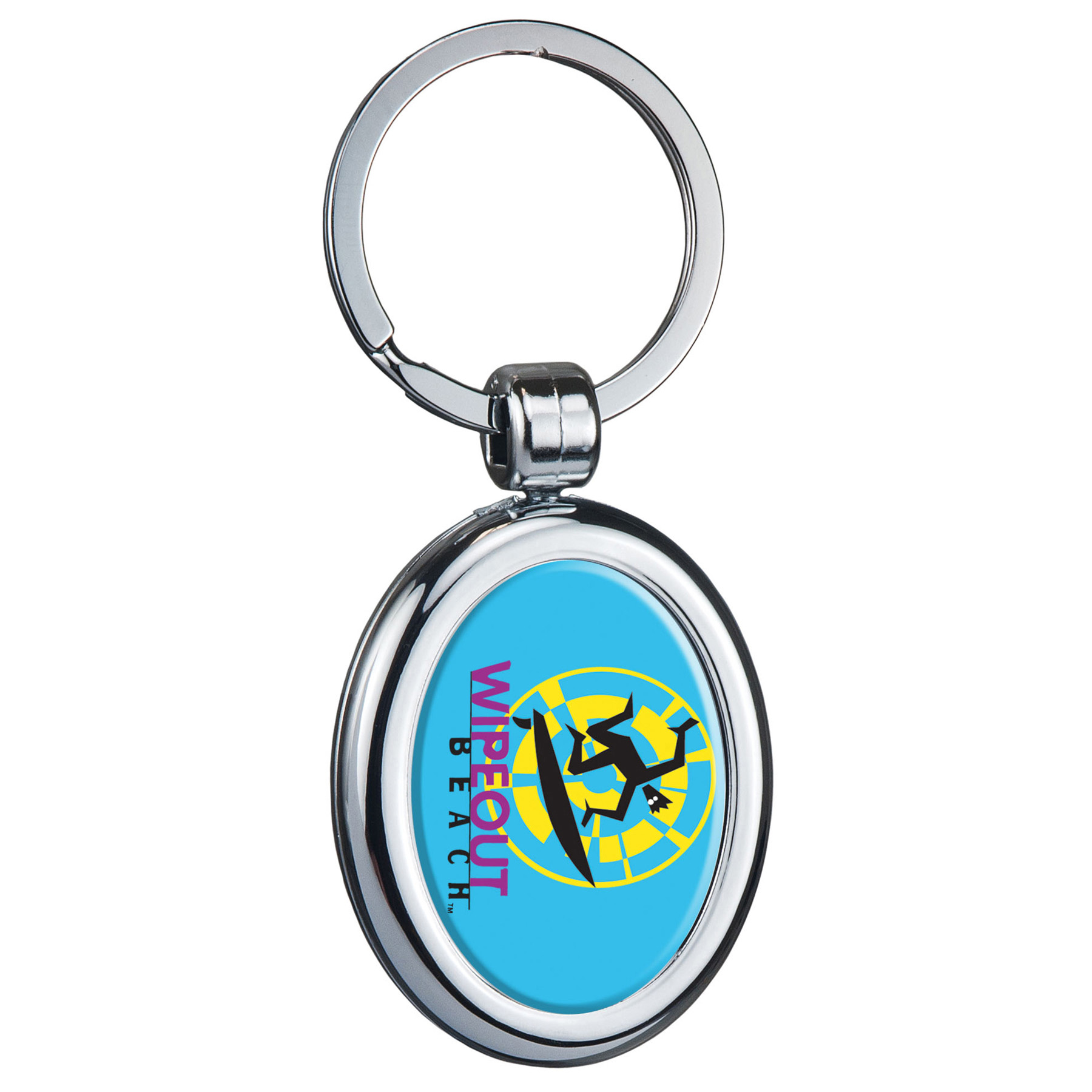 Two Sided Budget Chrome Plated Plastic Domed Key Tag Oval, 112-K, Full Colour Imprint