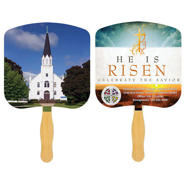 Religious Hand Fan/ Church-Religious, FR104-4-K, Full Colour Imprint