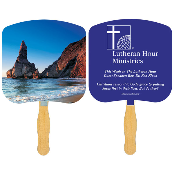 Religious Hand Fan/ Shoreline at Daytime, FR110-1-K, One Colour Imprint