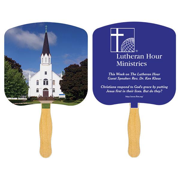 Religious Hand Fan/ Church-Religious, FR104-1-K, One Colour Imprint