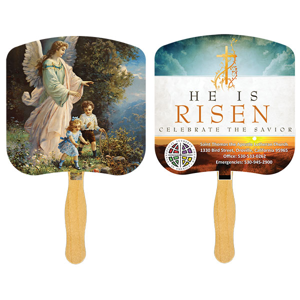 Religious Hand Fan/ Guardian Angel, FR102-4-K, Full Colour Imprint