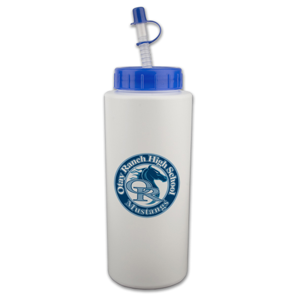 32 Oz. Sport Bottle w/ Straw Tip Lid, 303-K, One Colour Imprint