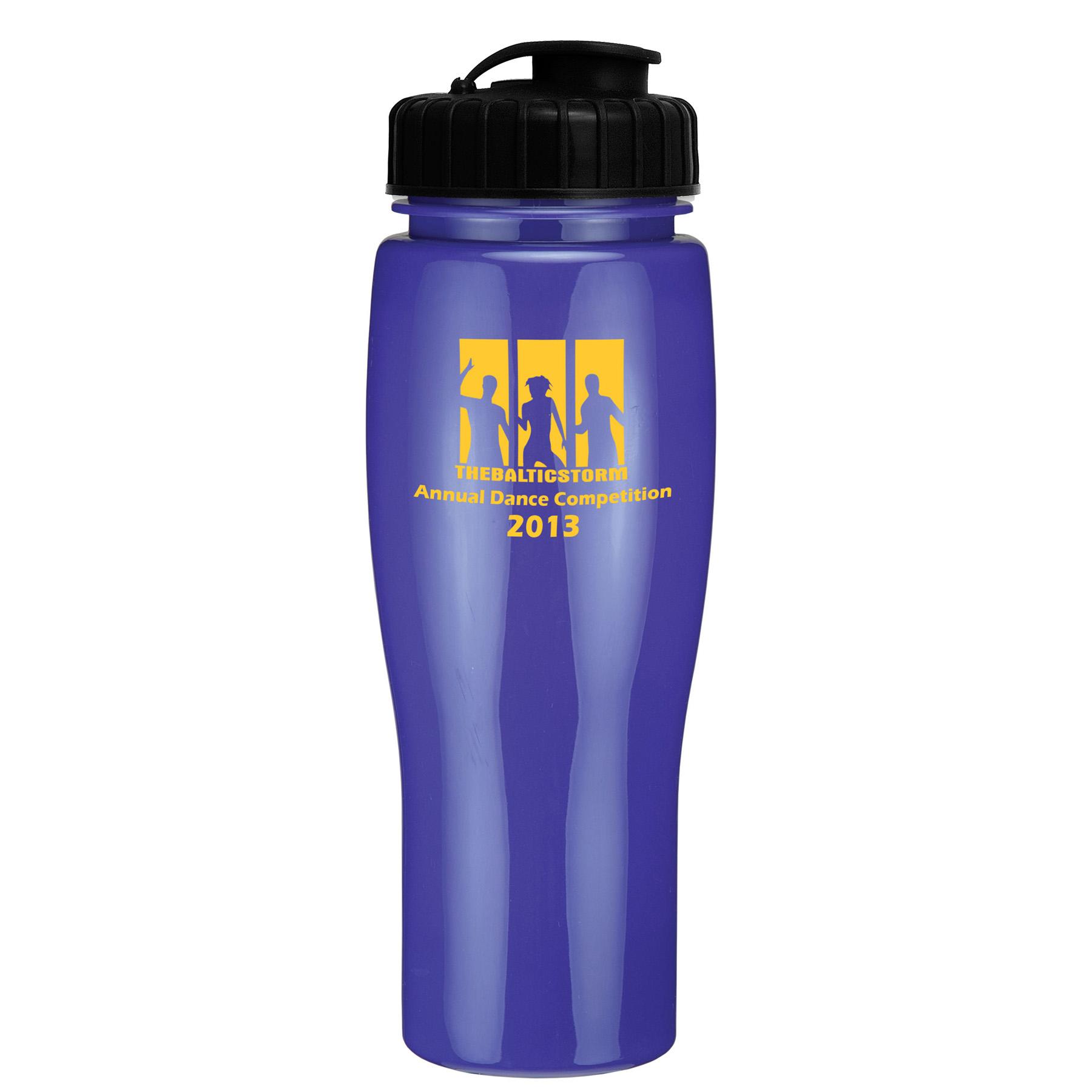 24 Oz. Contour Bottle w/ Flip Top Lid - Solid Colors, 379-K, One Colour Imprint