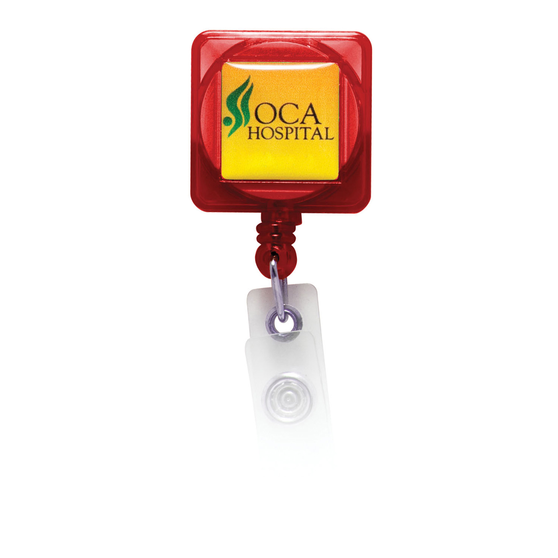 Retractable Badge Holder with Full Color Process Domed Imprint, BH101-K, Full Colour Imprint