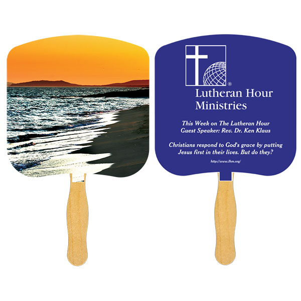Religious Hand Fan/ Shoreline at Sunset, FR108-1-K, One Colour Imprint