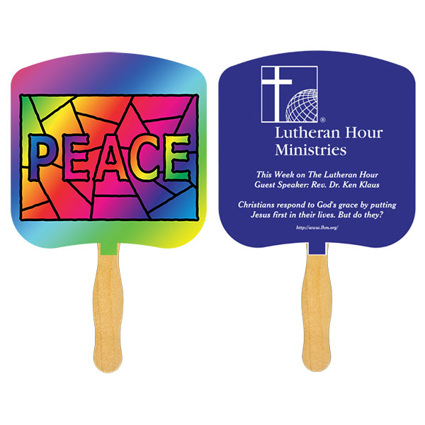 Religious Hand Fan/ Peace Stained Glass, FR105-1-K, One Colour Imprint