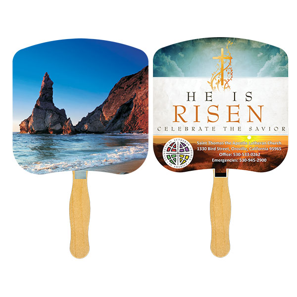 Religious Hand Fan/ Shoreline at Daytime, FR110-4-K, Full Colour Imprint