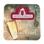 Custom Full Color Process 60 Point New Year's Eve Pulp Board Coaster