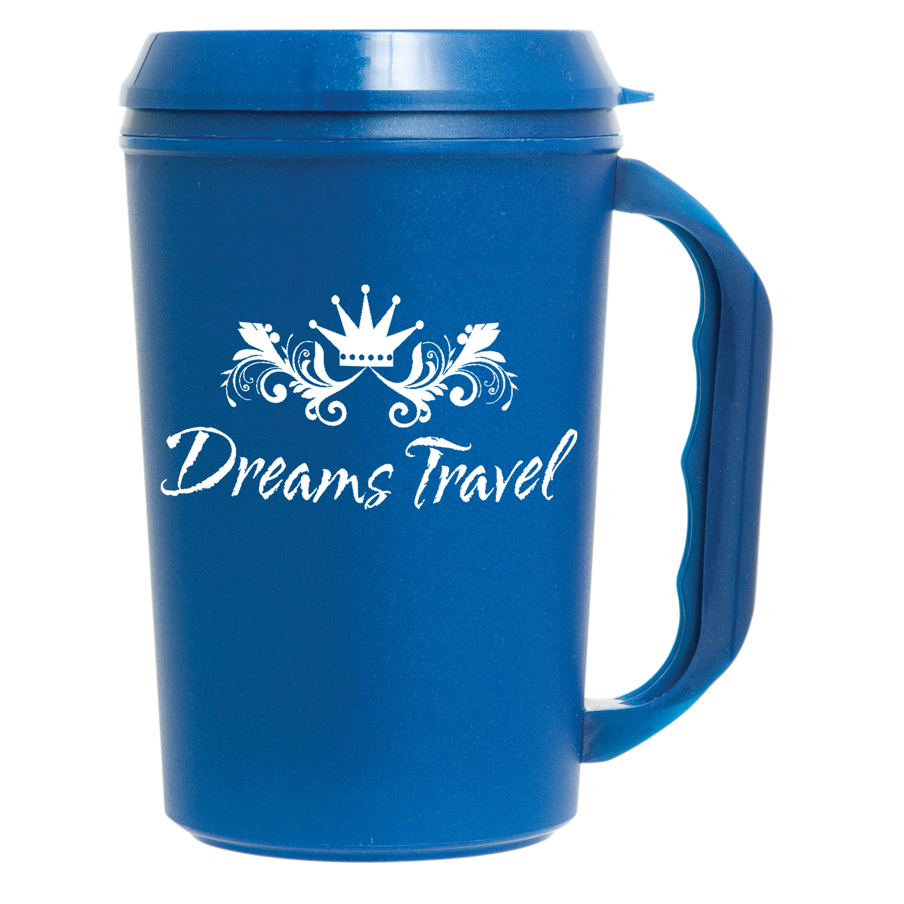 22 Oz. Insulated Travel Mug w/ Drink Thru Lid, 600-K, One Colour Imprint