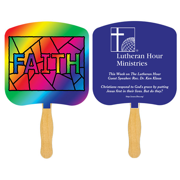 Religious Hand Fan/ Faith Stained Glass, FR107-1-K, One Colour Imprint