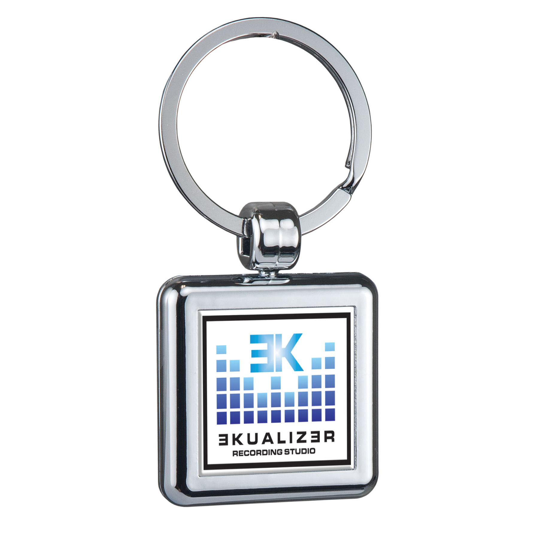 Two Sided Budget Chrome Plated Plastic Domed Key Tag Square, 113-K, Full Colour Imprint