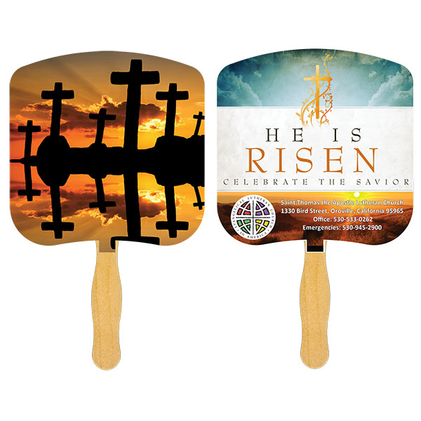 Religious Hand Fan/ Crosses at Sunset, FR103-4-K, Full Colour Imprint