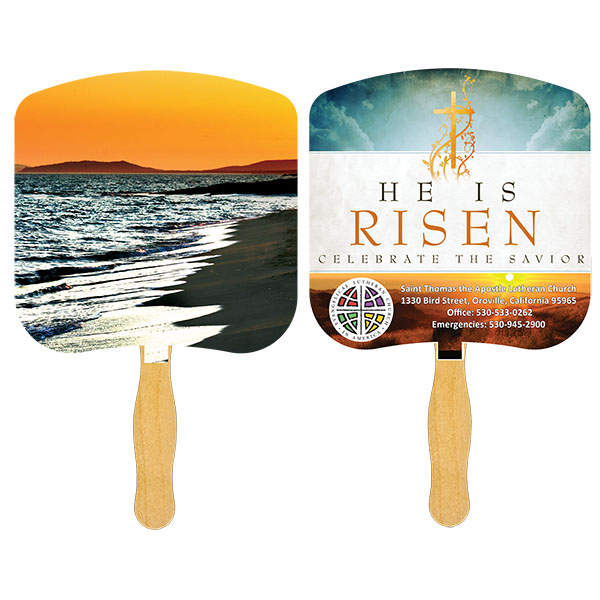 Religious Hand Fan/ Shoreline at Sunset, FR108-4-K, Full Colour Imprint