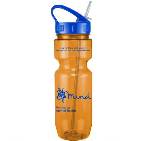 22 Oz. Translucent Bike Bottle w/ Sport Sip Lid and Straw, 0324S-K, One Colour Imprint
