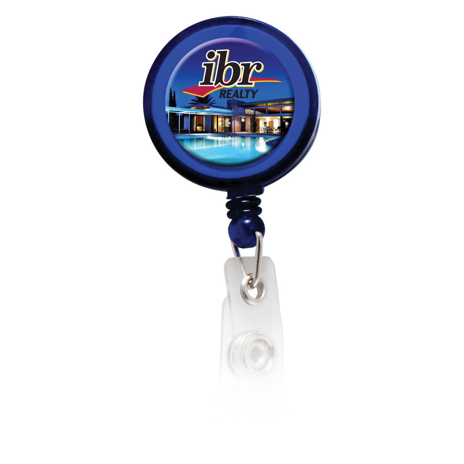 Retractable Badge Holder with Full Color Process Domed Imprint, BH102-K, Full Colour Imprint