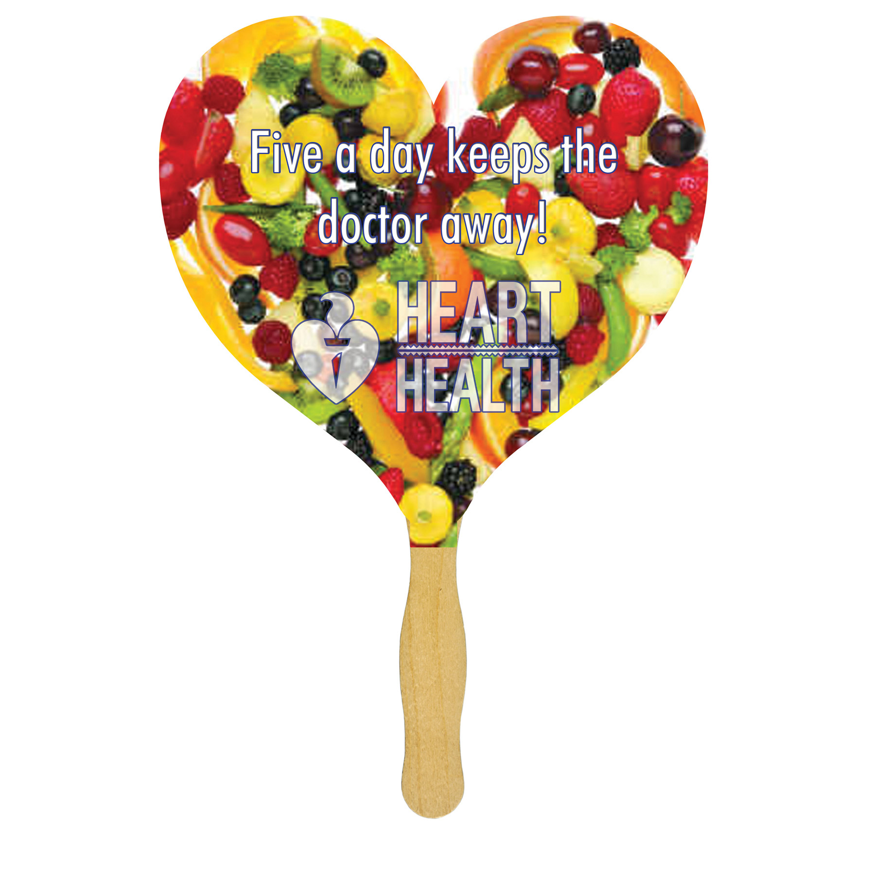 Heart Glued Hand Fan (1 Side/ 4 color process imprint), FS110-4-K, Full Colour Imprint