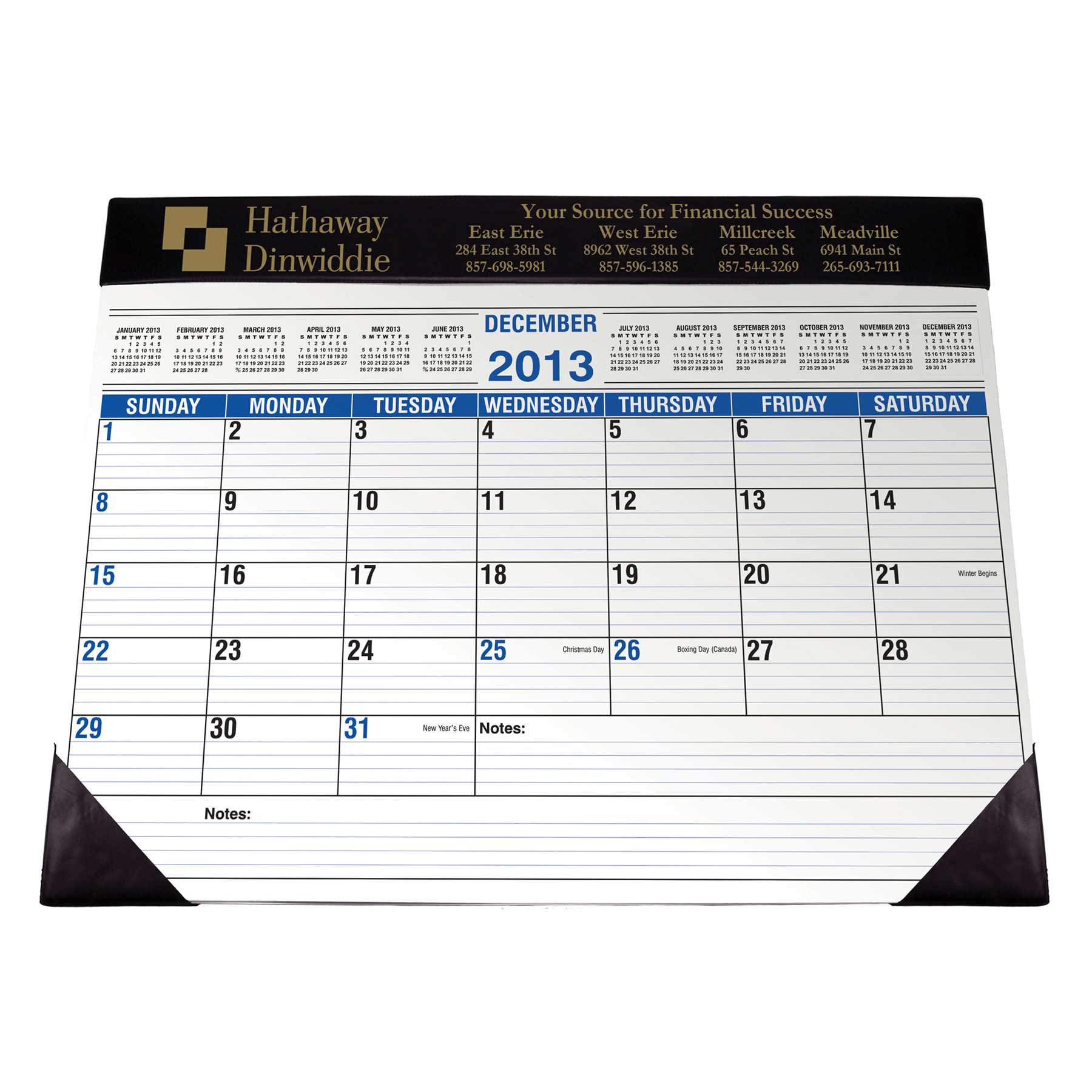 Full Size Desk Planner w/ Black Vinyl Trim, 274-K, One Colour Imprint