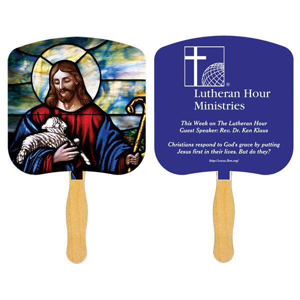 Religious Hand Fan/ Jesus the Good Shepherd, FR101-1-K, One Colour Imprint