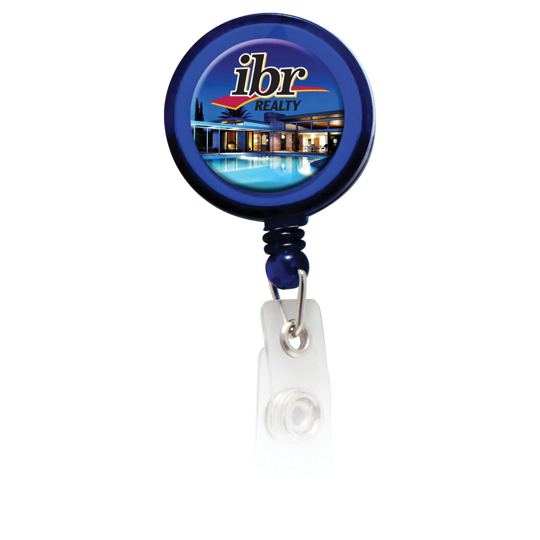Retractable Badge Holder with Full Color Process Domed Imprint, BH104-K, Full Colour Imprint