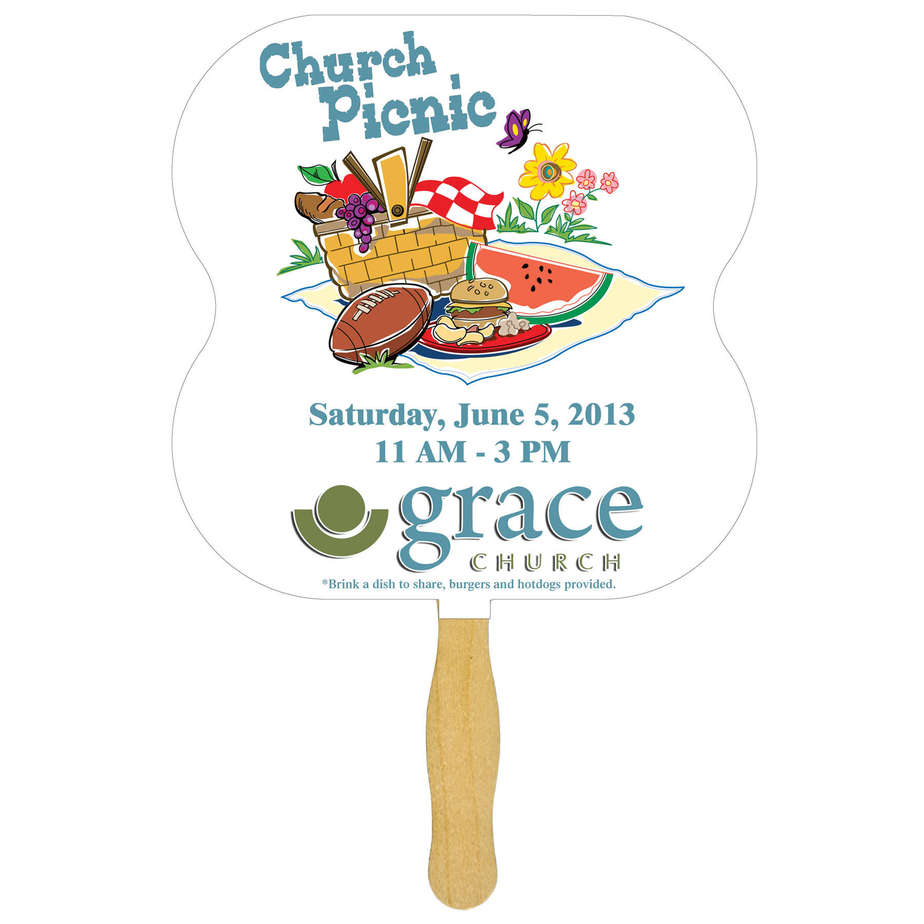 Hour Glass Glued Hand Fan (1 Side/ 1 Color imprint), FS105-1-K, One Colour Imprint
