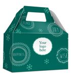 Custom HOLIDAY GIFT BOX - Free Full Color Logo Drop, Gable Style w/ Handle (Joy, Peace, Happiness Design)