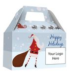 Custom HOLIDAY GIFT BOX - Free Full Color Logo Drop, Gable Style w/ Handle (Santa) Changeable Salutation