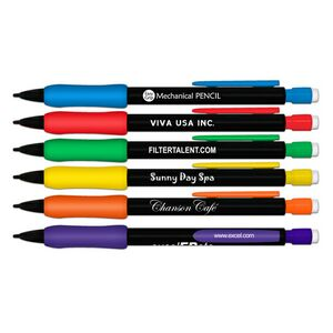 Black Barrel Mechanical Pencil w/Bright Color Rubber Grip