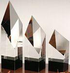 Custom Master Diamond Pillar Award on Black Base - Optic Crystal (5 1/2