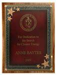Custom American Black Walnut Plaque w/ Red Seeing Stars Series Plate (10