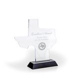 Custom Great State of Texas Award w/ Black Base - Acrylic (7 3/8