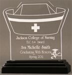 Custom Compassionate Nursing Award on a Black Base - Acrylic (5 5/8